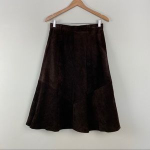 Vintage Chocolate Brown Suede Paneled Skirt Size S